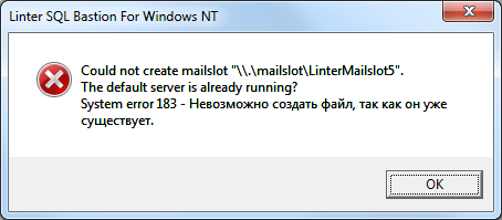 Could not create mailslot ""\.mailslotLinterMailslot5"". The default server is already running? System error 183 – Невозможно создать файл, так как он уже существует.454|199|?|9305c43ed57666e43bf2677b50b6f97b|False|UNLIKELY|0.351821631193161